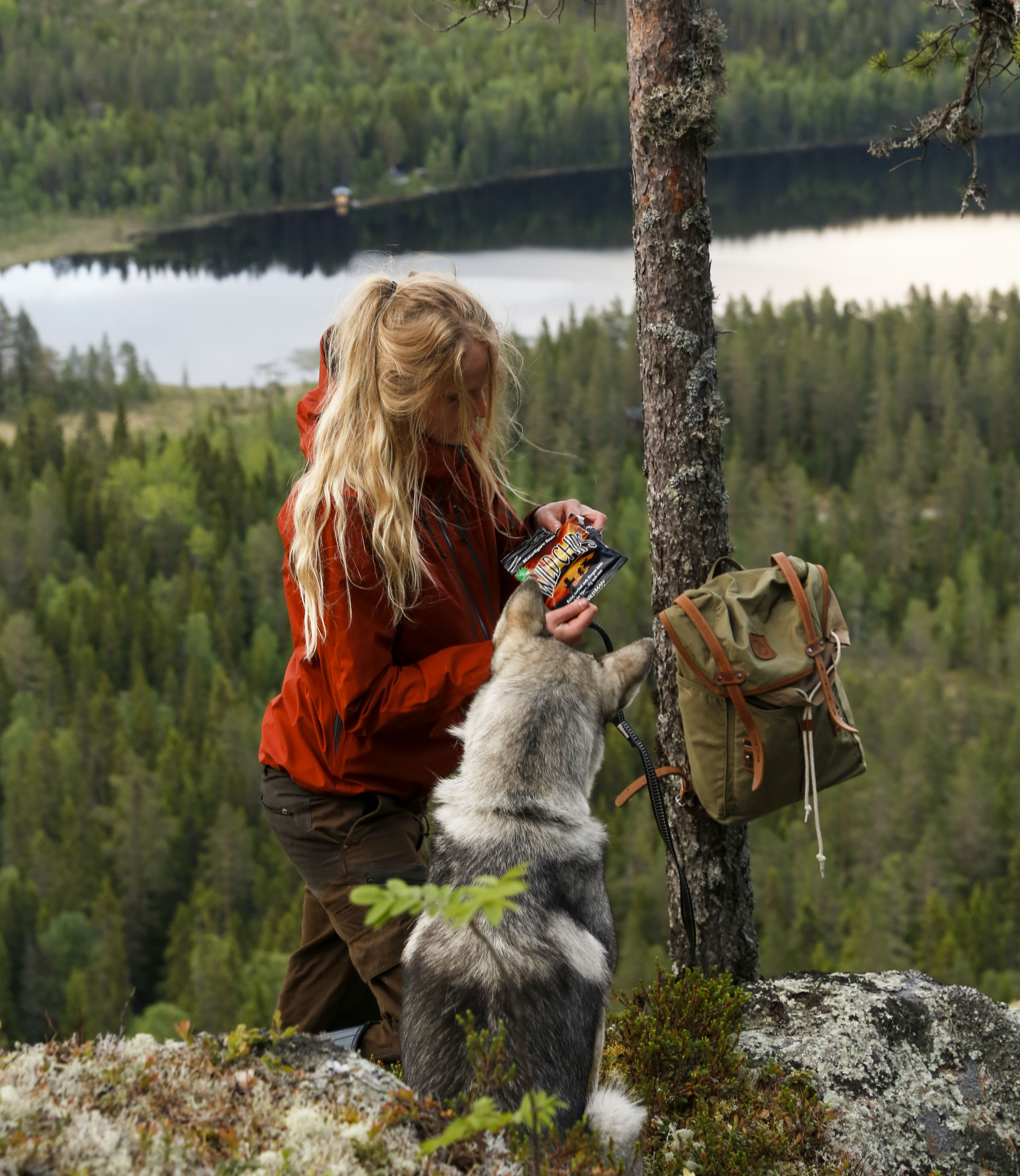 Vy över älvdal med hund o tjej m Wild Chipspåse